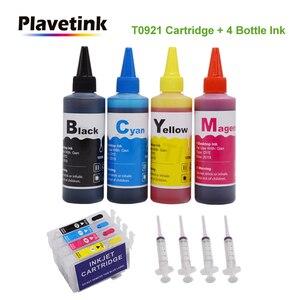 T0921 92n 92 Заправляемый чернильный картридж для Epson Stylus T26 T27 TX106 TX109 TX110 TX117 TX119 CX4300 принтер + 4 цвета 100 мл чернильные чернила