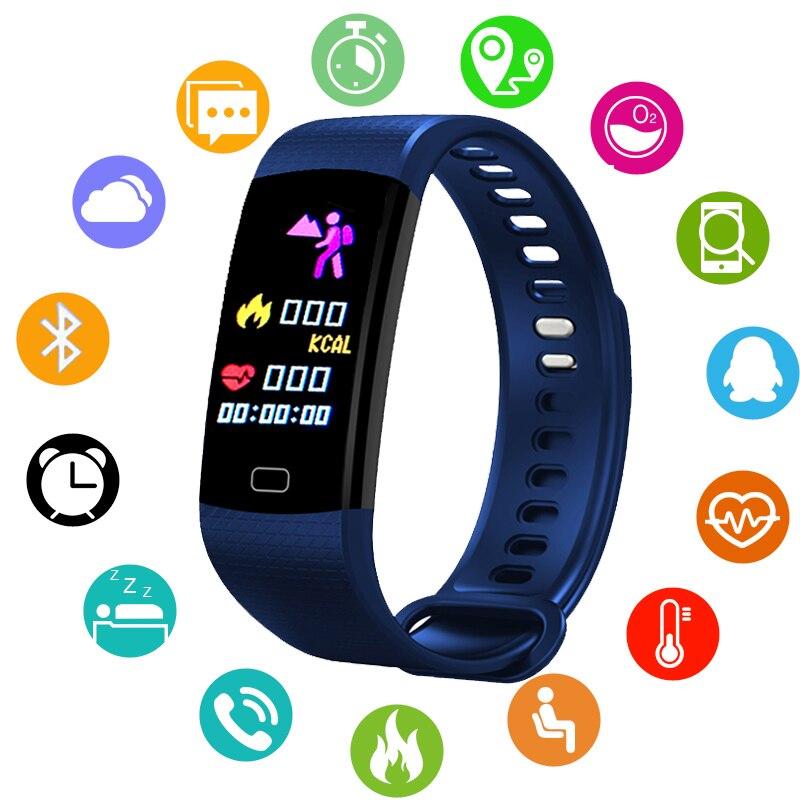 Bande à puce Moniteur de Fréquence Cardiaque Montre de La Pression Artérielle Fitness Tracker Bluetooth Bracelet Étanche Sport BANGWEI Bracelet À Puce