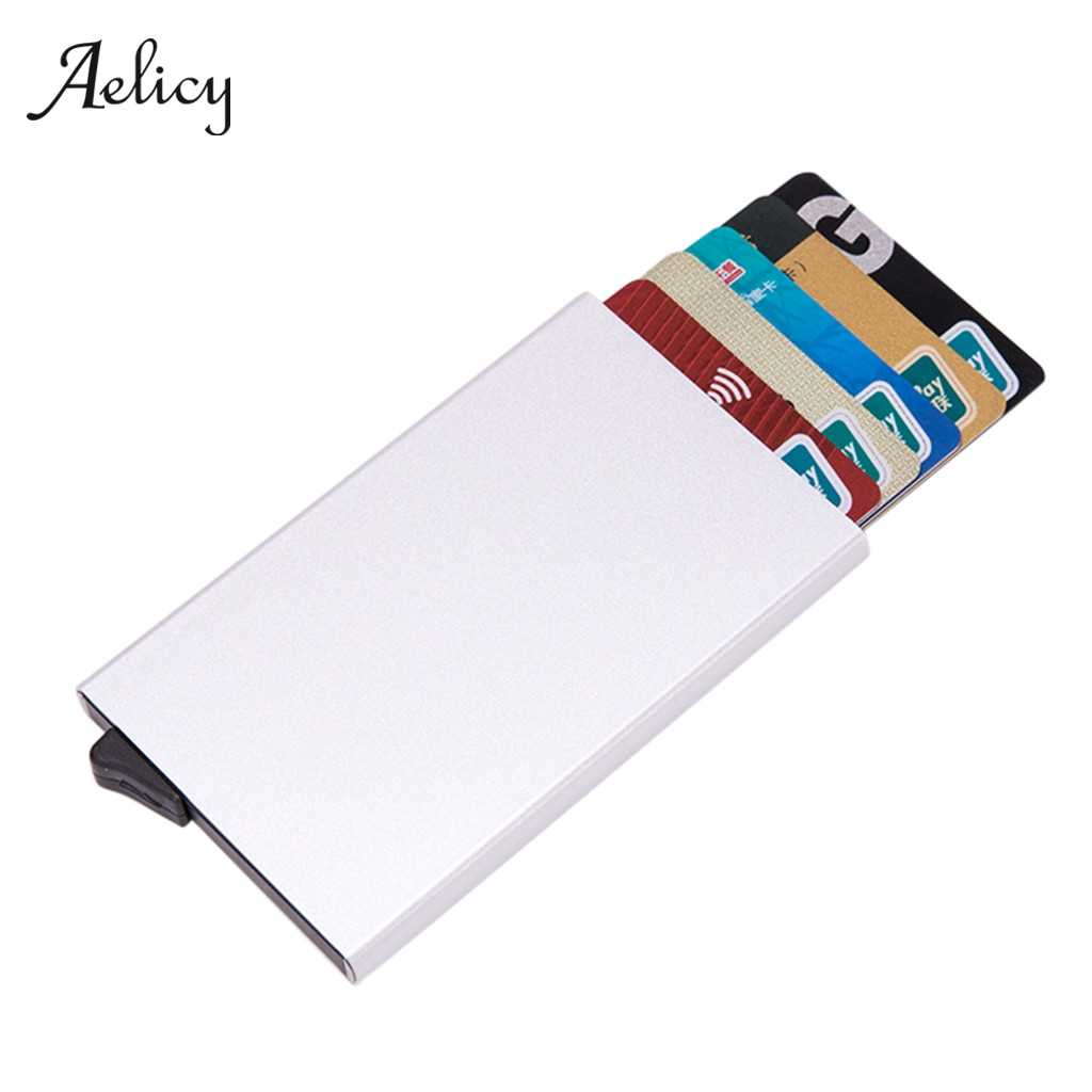 Aelicy Men Credit Card Holders Business ID Card Case Fashion Automatic RFID Card Holder Aluminium Bank Card Wallets