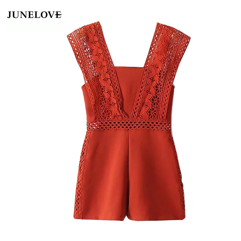 JuneLove summer hollow out solid women playsuit zipper loose waist female jumpsuit sexy lace backless ladies rompers