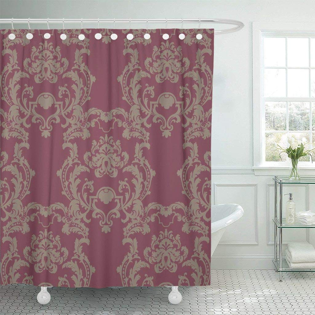 Us 13 9 40 Off Shower Curtain Antique Baroque Vintage Floral Damask Luxury Classic Lily Royal Victorian For Beige Decorative Bathroom In Shower