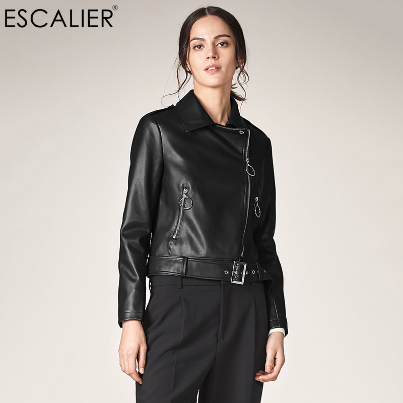 ESCALIEA Women PU Leather   Jacket   2017 Fashion Turn-down Collar Zipper Coats Ladies Imitation sheepskin Motorcycle   Basic     Jackets
