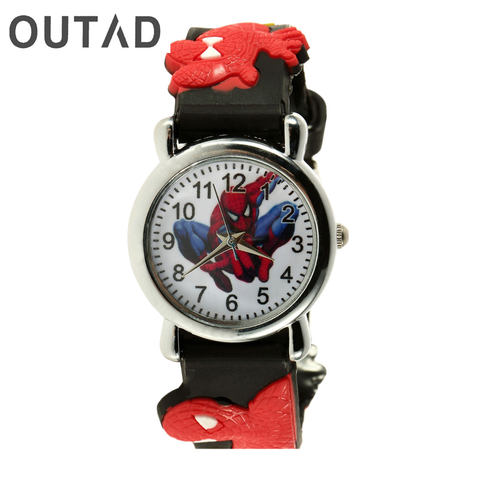 OUTAD Cool Children Watch 3D Rubber Strap Cartoon Watches For Boys Kid Students Analog Quartz Sport Clock Wrist montre enfant beautiful cartoon rubber strap quartz watch with plane and cloud shaped watchband for children azure