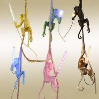 Современный Креативный дизайн Лофт смолы Seletti висячая обезьяна пеньковая веревка светодиодный Подвесная лампа для домашнего освещения при