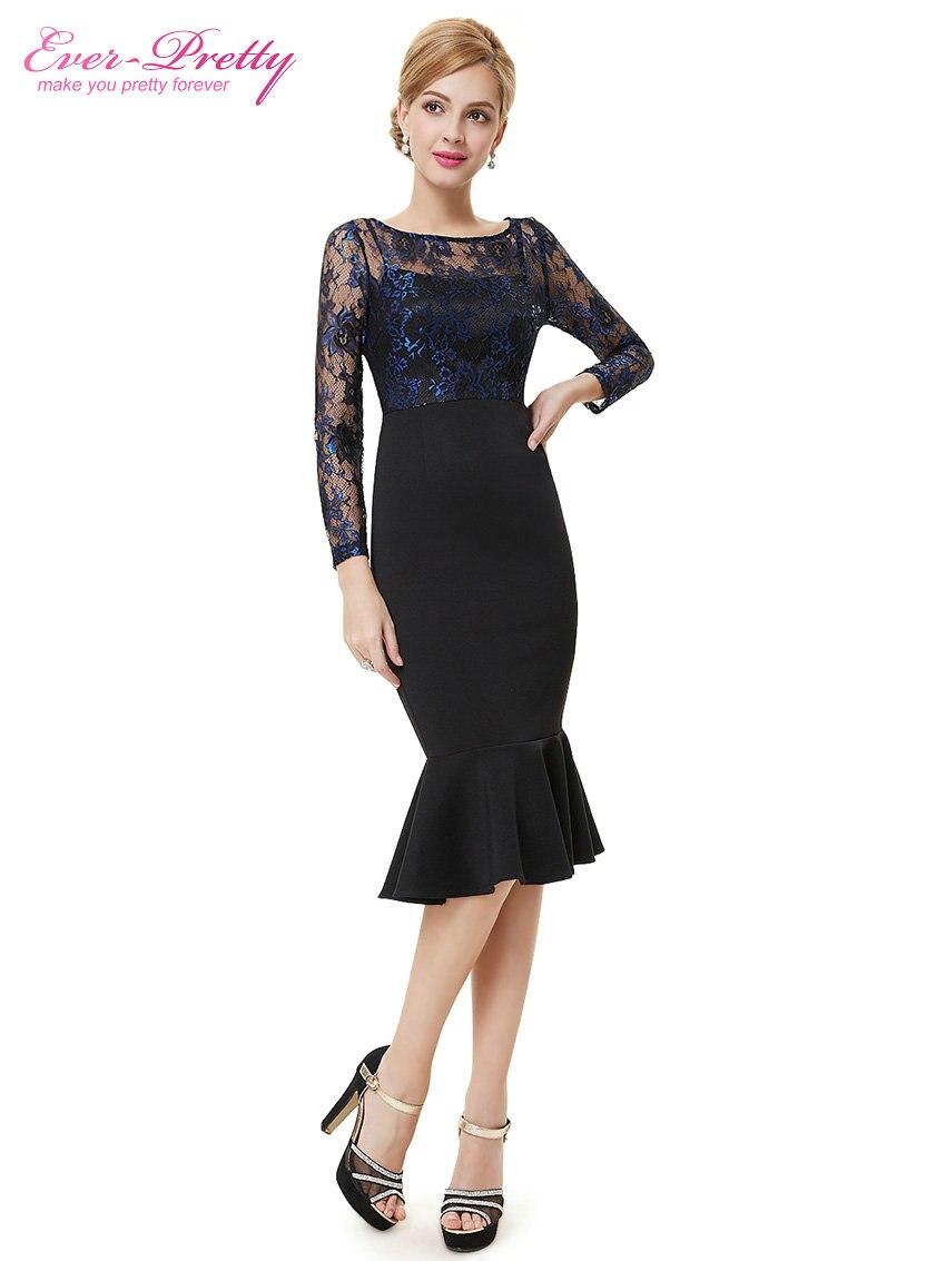Vestidos de fiesta de cóctel siempre pretty he08455 unique sexy de encaje de manga larga negro cocktail dress para las mujeres 2017