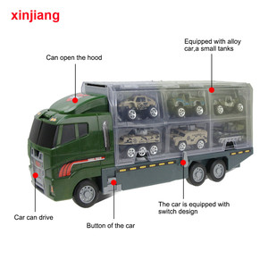 Image 3 - 1:64 Diecast Car Model Big Truck & 10PCS Alloy Car Toy Vehicle Simulation Military Vehicle Helicopter For Children Boys Gifts }