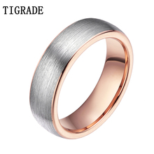 Tigrade Fashion Rose Gold Tungsten Ring Women Ring 6mm Romantic Female Wedding Band Ring For Men and Women Jewelry Opal Anel love forever two tone gold tungsten ring tungsten wedding ring for men and women