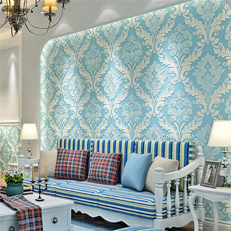 beibehang Thick and large volumes of high - end European luxury warm  TV background wall paper non - woven bedroom wallpaper