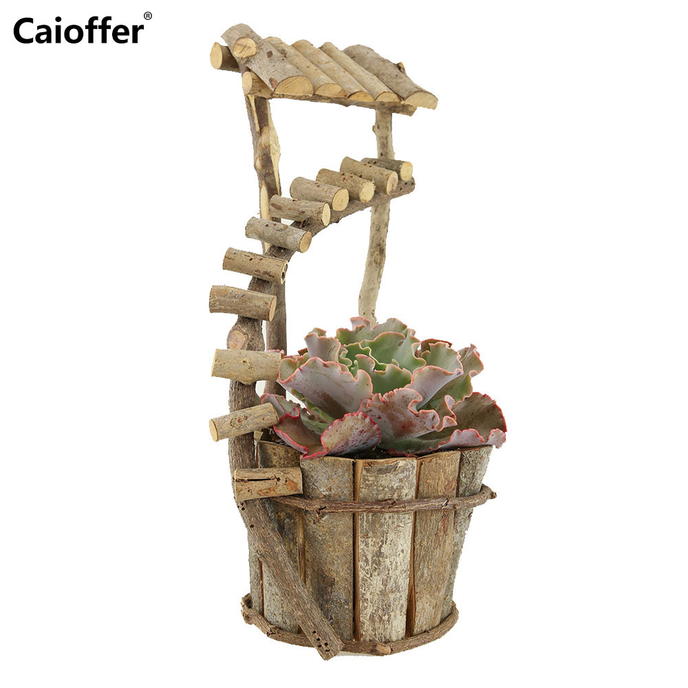 Caioffer Branches Hand-made Wood Flower Pots Love Natural Stand Wooden Flowerpot For Garden Home Outdoor Decoration A-ZR14028
