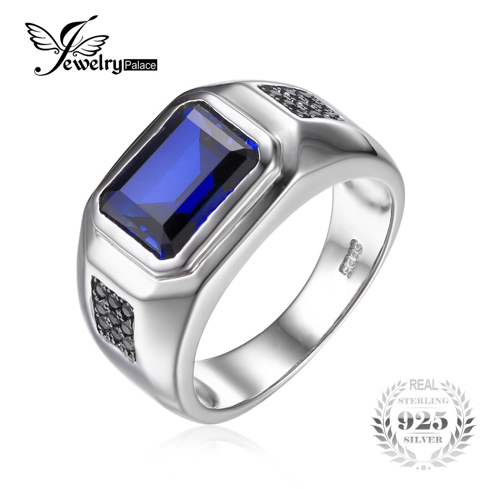 Jewelrypalace Men 43ct Created Created Sapphire Natural Black Spinel  Anniversary Wedding Ring Genuine 925 Sterling
