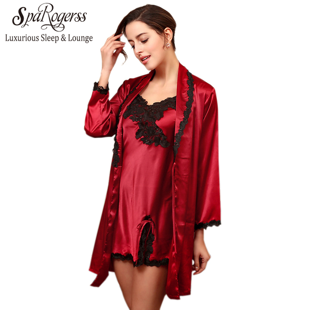 SpaRogerss Luxurious Women New Robe Gown Set 2017 Summer Ladies Lace ...