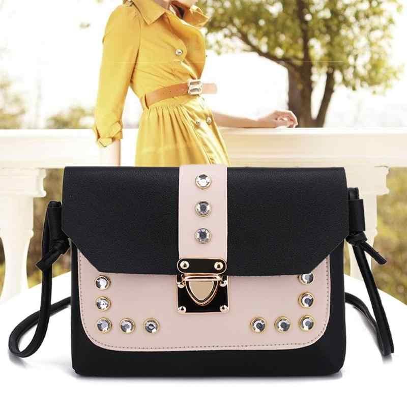 Cor panelled mini bolsas de ombro casual feminino rebites couro pequeno mensageiro sacos bolsa feminina