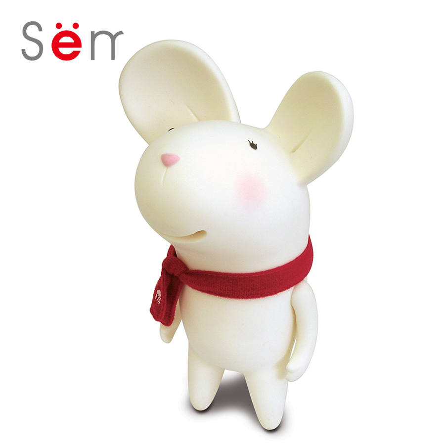 Semk 20cm Mouse Anime Figure Mic Money Box White Grey Cute Mouse Doll With Neckerchief Home Office Desk Decoration Gifts