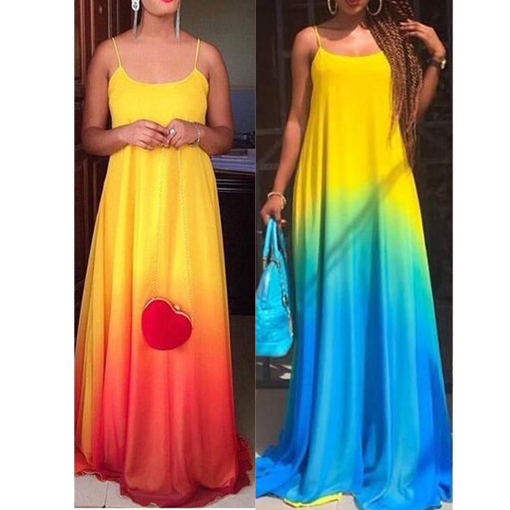 sexy dress Summer Women's Sexy Sling Fashion Dress Gradient Color Dress long Dress plus size dress robe femme dropshipping