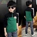 Crianças camisa dos miúdos de manga longa polo camisas da escola do adolescente uniforme roupas menino zipper patchwork ocasional t shirt roupas