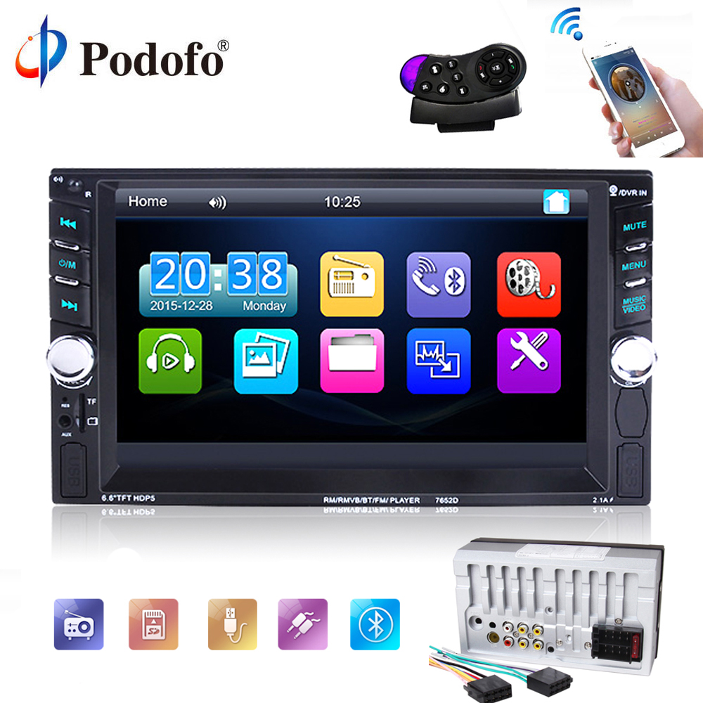 Podofo 2 din car radio 6.6 HD Autoradio MP5 Player Stereo Touch Screen Car audio Bluetooth FM/USB/FM/AUX Input Rearview Camera podofo 2 din car radio 7 hd audio stereo bluetooth multimedia player mp5 usb sd fm 2din touch screen autoradio rearview camera