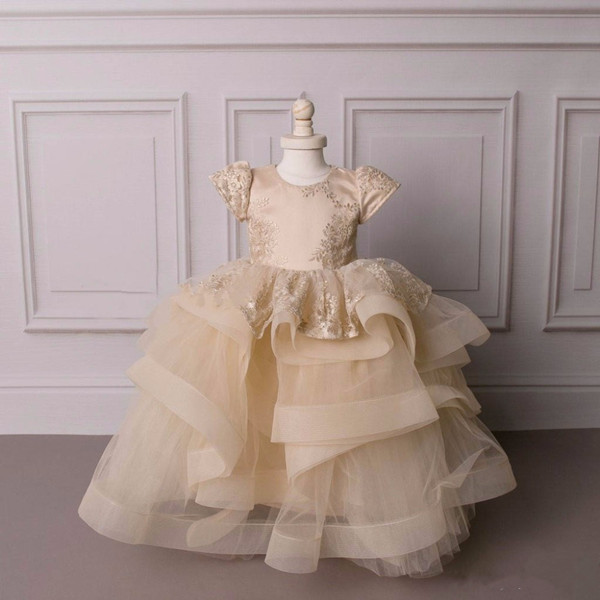 champagne lace flower girl dress with short sleeves puffy ruffles tired tulle baby 1st birthday party frocks Custom Madechampagne lace flower girl dress with short sleeves puffy ruffles tired tulle baby 1st birthday party frocks Custom Made