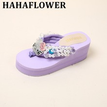 HAHAFLOWER 5 Colors.Cute Women's Kitty Cat  Sandals.Lady Girl's Plastic Clip Toe Beach Sandal Flat Shoes.Summer Wedge Flip Flops