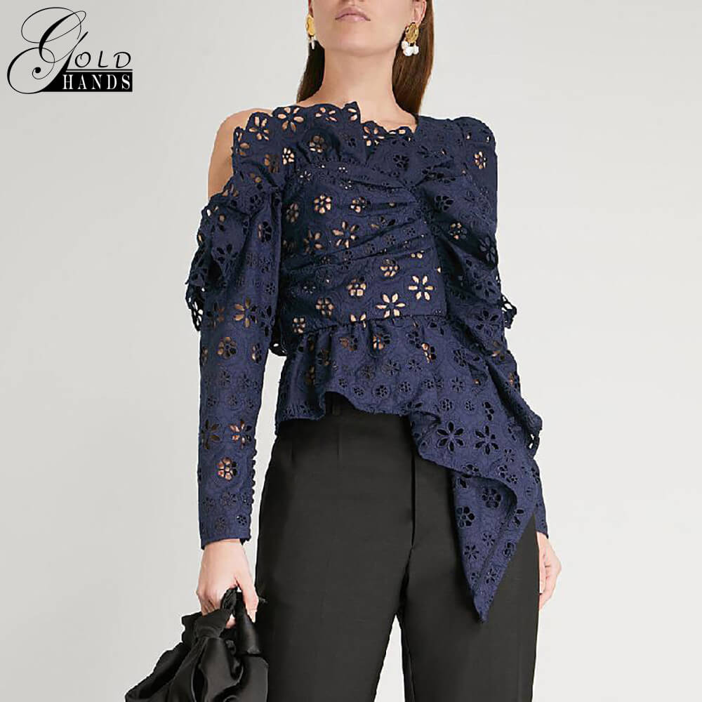 Gold Hands 2019 New Women Sexy Fashion Lace Shirts Blouse Female Long Sleeve Off Shoulder Hollow Out Asymmetrical Tops Female