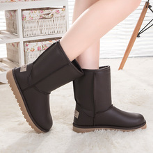 Winter Warm PU Snow Boots Thick Waterproof Antiskid Leather Classic Tall and Short Australia Boots UGN Female Casual Cotton Boot
