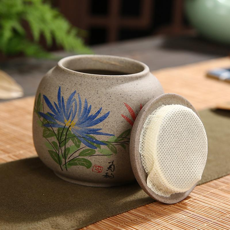 Chinese Tea Caddies Elegant Bamboo Flower Printe Lotus Elegant Tea Box Caddies Ceramic Vintage Mini Tea Storage Tea Container