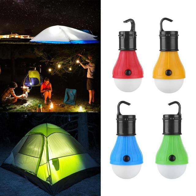 Mini Portable Lantern Tent Light 3 LEDs Bulb Emergency Lamp Waterproof Hanging Hook Flashlight For Camping 4 Colors Use 3*AAA