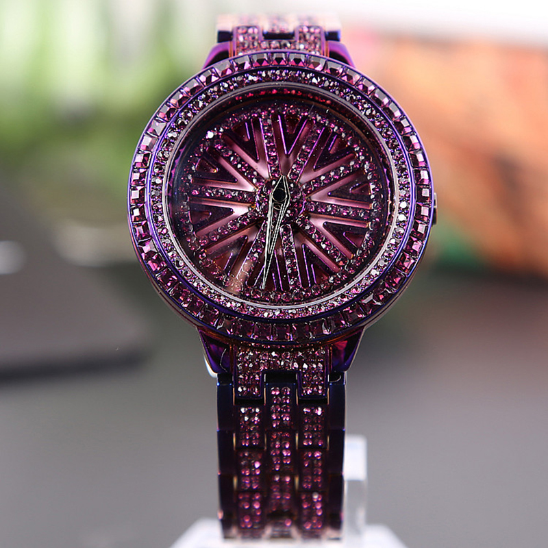 Для женщин часы вращения горный хрусталь алмаз Часы из нержавейки женская одежда Watch Top Элитный бренд фиолетовый часы женский браслет