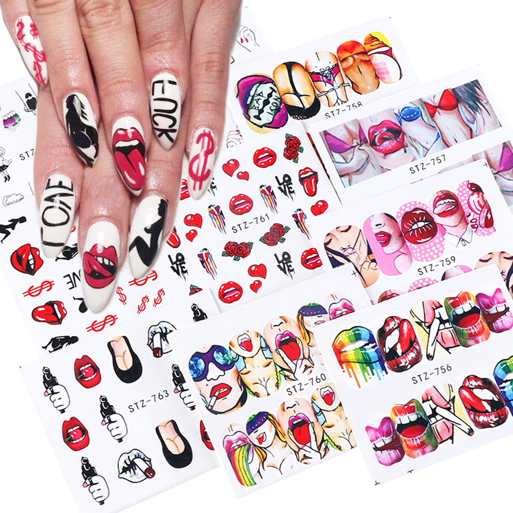 9pcs Sexy Girl Lips Slider Water Decals Nail Sticker Water Transfer Tattoo Wraps Adhesive Tip Manicure Decoration JISTZ756 765-in Stickers & Decals from Beauty & Health