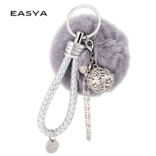 EASYA European and American Hot Marketing Fur Pom Pom Fluffy Ball Keychain Fur Ball Keyring Bag