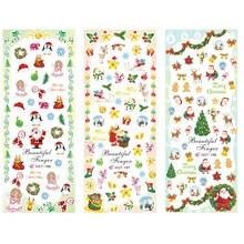 3 упаковки/партия мозаика Рождество Санта Клаус Олень наклейки для ногтей переводная наклейка для ногтей HOT196-198