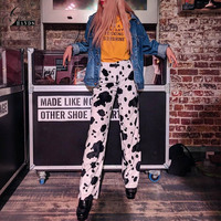 Gold Hands Hot Selling Winter Streetwear Women Straight Pants High Waist Spring Trousers Print Casual Full Length Polyester