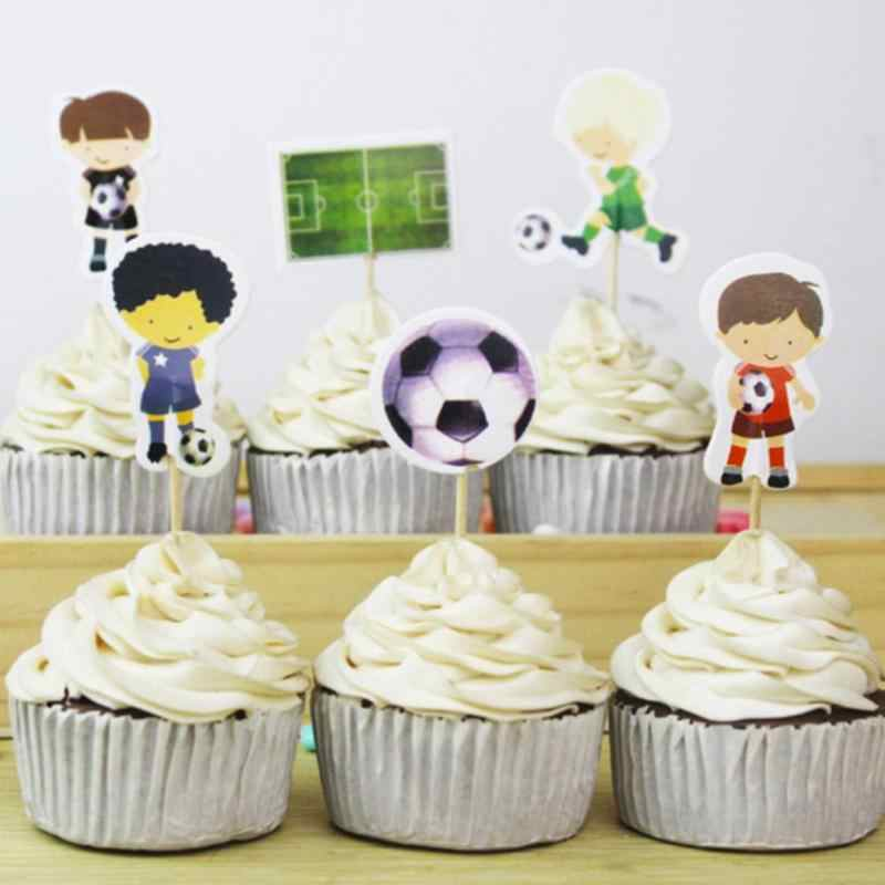 Super 24Pcs Set Sports Boy Football Cake Topper Birthday Cake Dessert Personalised Birthday Cards Paralily Jamesorg