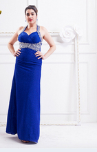Royal Blue Full Figured Evening Dress Halter Neck Beaded Long Large Plus Size Formal Gowns For Big Women