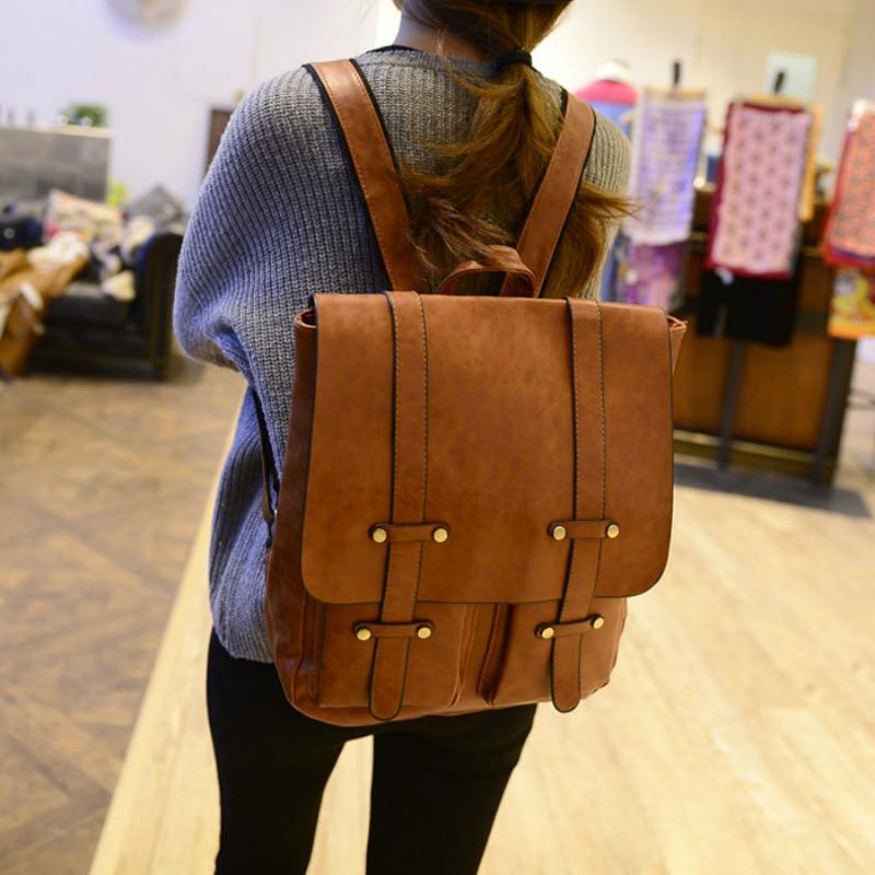 Brand PU Leather Waterproof Backpack Women Preppy Style Backpacks For Teenager Male Laptop Backpack Men Casual Daypacks Mochila