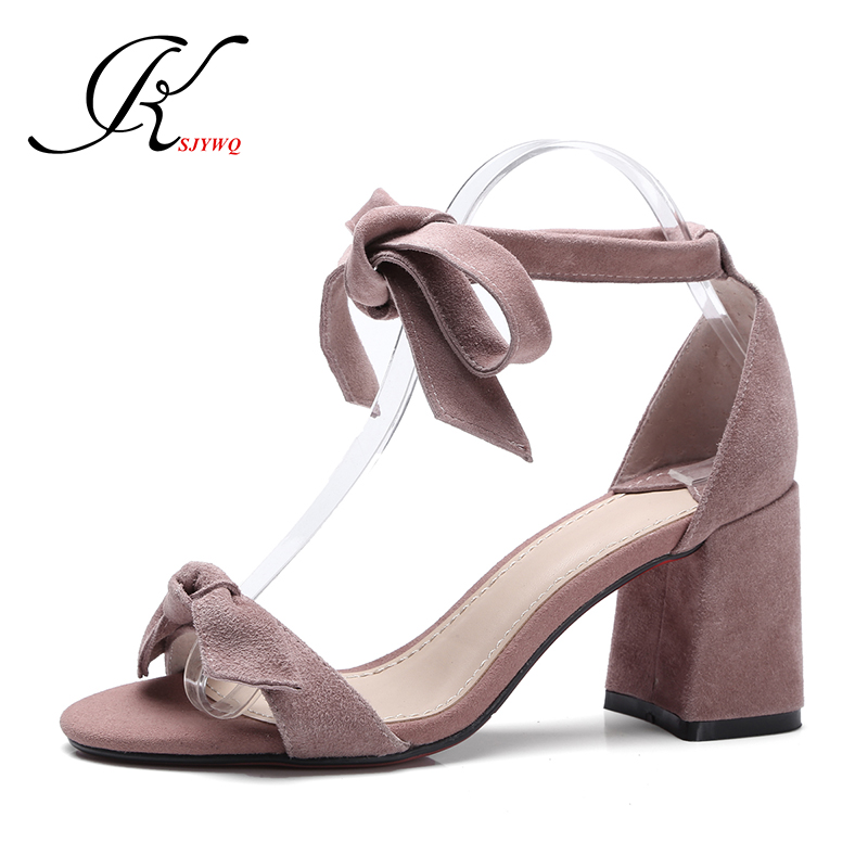 KSJYWQ 2017 Women Sandals 7 cm Chunky heels Genuine leather Lace-up Pumps Summer Open-toe Sexy Shoe Size 34-39 Box Packing B-006 telling glow