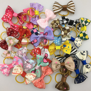 (20 pieces/lot) Cute Ribbon Dogs Cats Hair Accessories Handmade High Quality Pet Hair Bows Dog Grooming Accessories 30 Colors 1