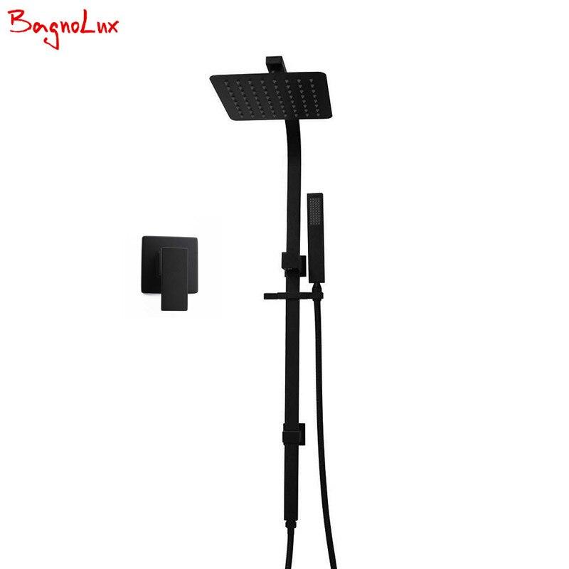 "BagnoLux lifetime Warranty Solid Brass Bathroom 8"" Rainfall Handheld Shower Head Sliding Rail Set Matte Black Mixer Tap Diverter"