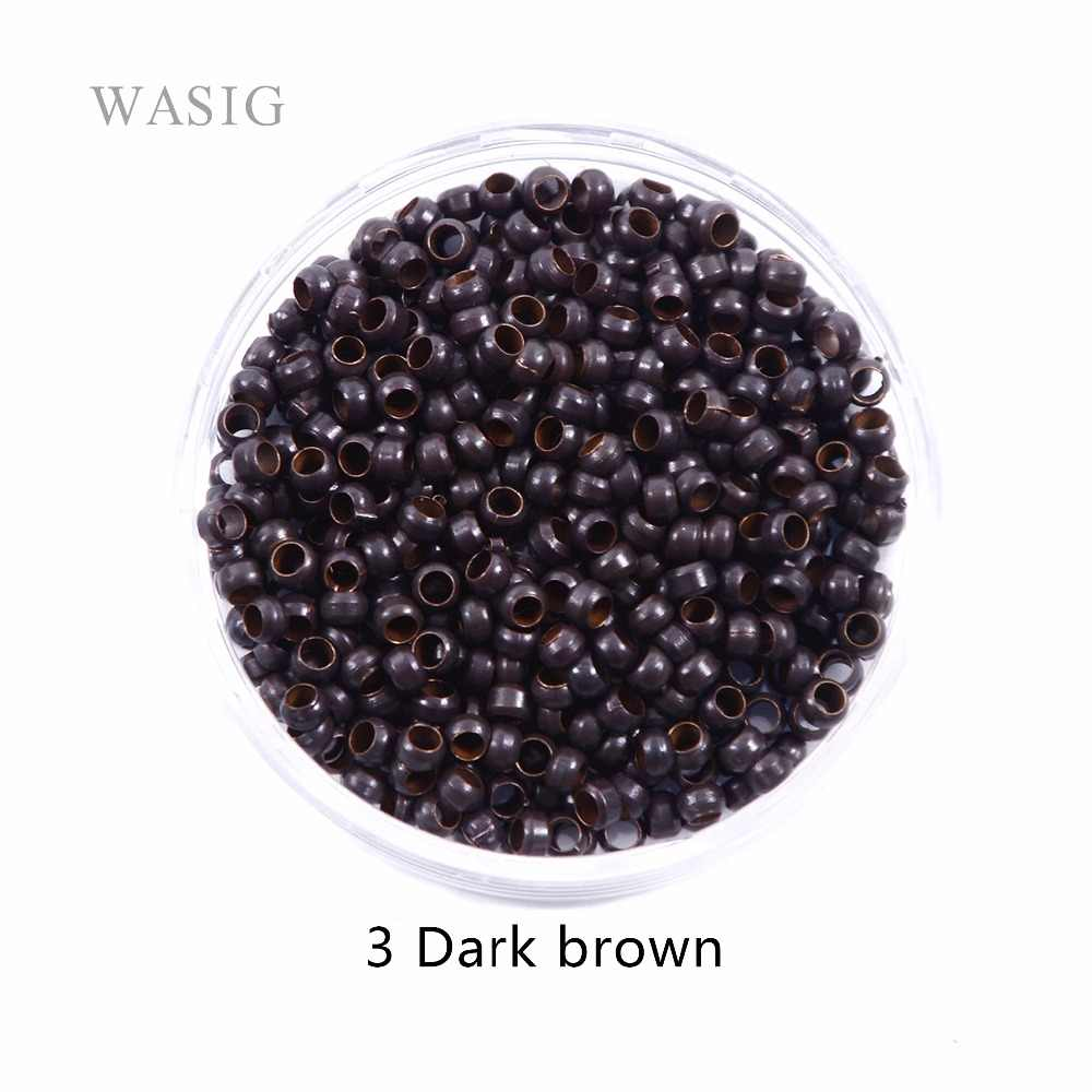 1000pcs 2.5mm micro nano rings ring for hair extensions 3# dark brown color