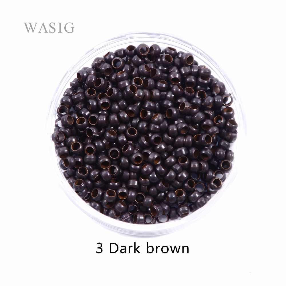 1000pcs 2.5mm micro nano rings ring for hair extensions 3# dark brown color