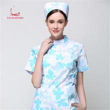 Split suit for nurses short sleeve long floral maple leaf ICU maternity care service dental pediatric uniform