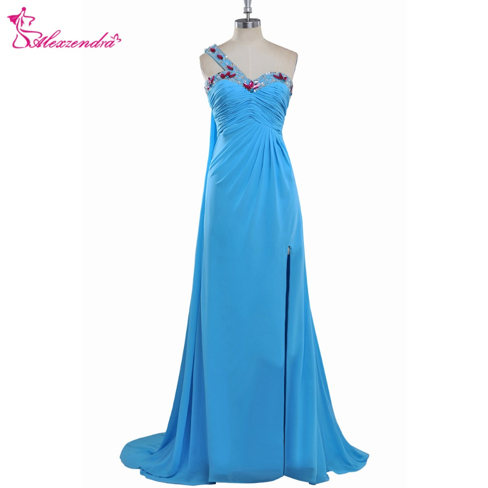 Alexzendra Blue Chiffon Long Beaded Pleated A Line Prom Dresses Crystals One Shoulder Evening Gowns Party Dress