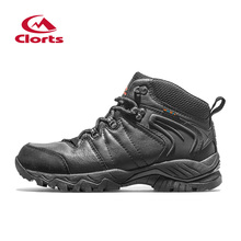 New Clorts Men Waterproof Hiking Boots Climbing shoes Trekking boots Full Grain Sports Shoes Black Outdoor Shoes HKM-822D