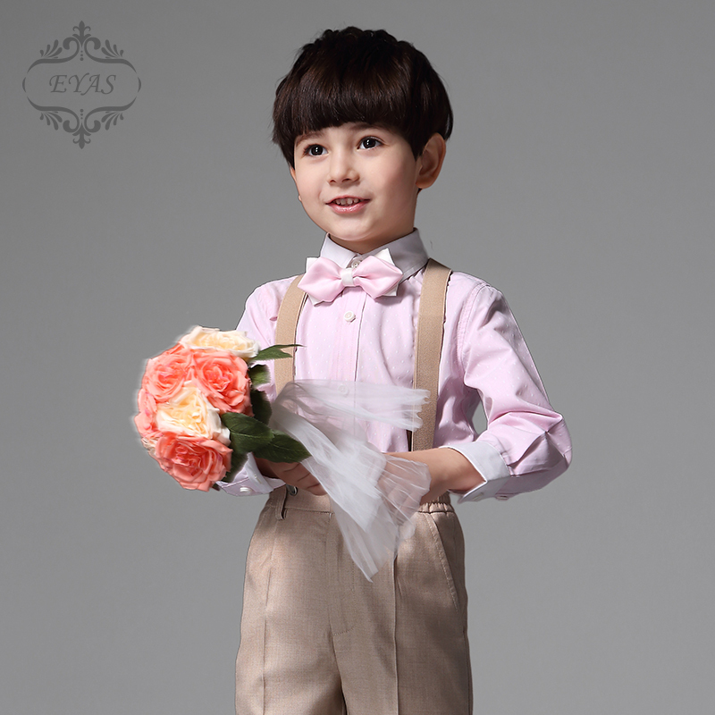 2017 EYAS Children's Clothing Boys Formal 4-pc Outfit Tuxedo Style Clothing Set With Pants, Shirts, Suspenders, Bowtie K5115 2017 eyas kids clothes child clothing set long sleeve suit set white ring bearer formal 4pc with shirt bowtie a5103