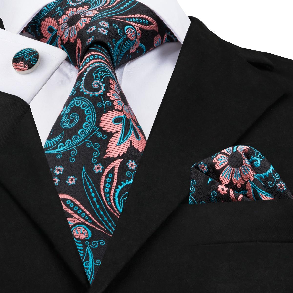 C-1689 Hi-Tie Autumn Design Paisley Ties For Men Black Blue Gravatas Necktie Hanky Cufflinks 100% Silk Jacquard Woven Corbatas