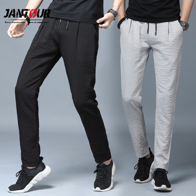 Jantour 2019 Spring Summer New thin Casual Pants Men Cotton Slim Fit Chinos Fashion Black Trousers Male Brand Clothing Plus Size 39