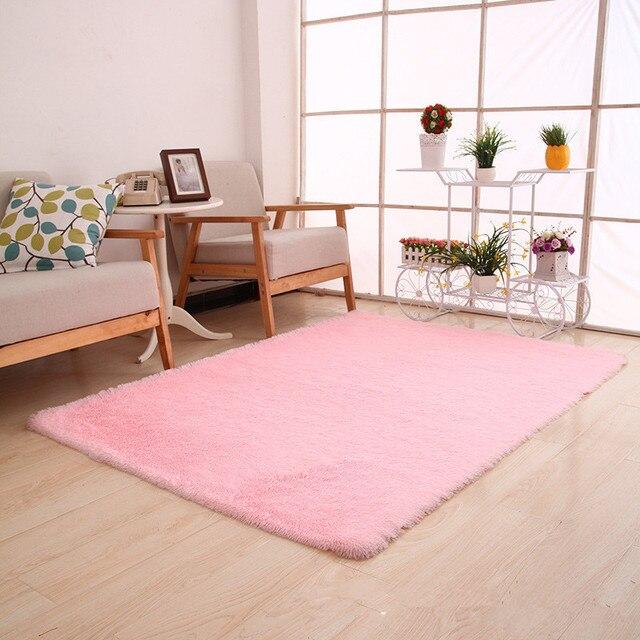 Modern Pink Carpet Mat Soft Long Plush Carpets Kids Room Bedroom ...