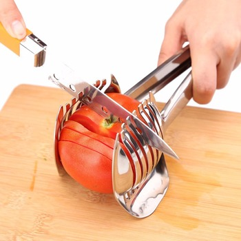 Stainless Steel Tomato Onion Lime Holder Slicer Fruit Food Cutter Stand Potato Lemon Shreader Cutting Holder Kitchen Accessories image