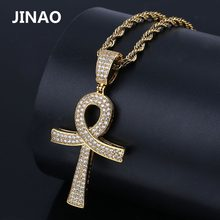 JINAO Hip Hop New Fashion Ankh Cross Pendant Necklace Gold Silver Color Plated Iced Out CZ Stone Men Gold Chain Jewelry Gift(China)