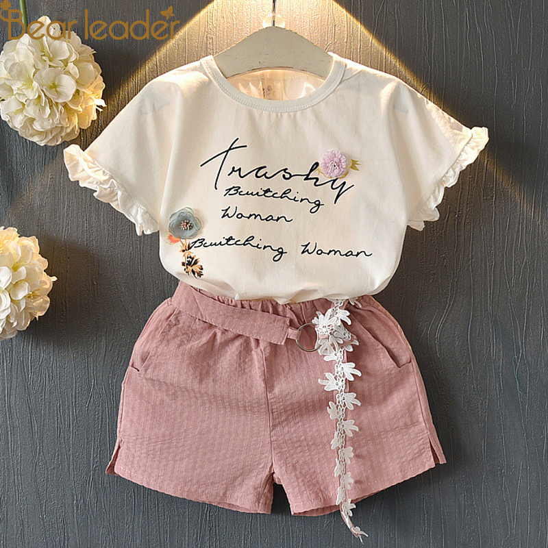 Bear Chief Youngsters Garments 2018 Trend Sleeveless Summer time Model Child Women Shirt +Shorts + Belt 3pcs Swimsuit Youngsters Clothes Units kids clothes set, clothes units, style children garments,Low...