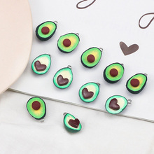 2pcs fashion jewelry for women girl pendant earring avocado drop cartoon green color cute rubber fun simulation fruit